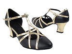 SERA3541 Black Leather & Light Gold Trim Thick Cuban Heel