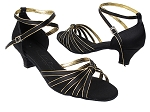 SERA7043 Black Satin & Gold Trim Cuban Heel