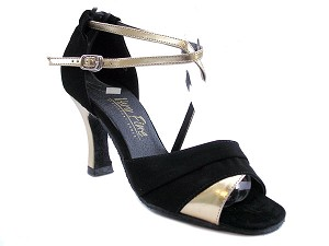 "1659 Gold Leather & Black Nubuck with 3"" Heel in the photo"