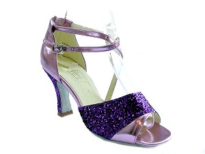 "1659 Purple Sparkle & Purple Leather with 3"" Heel in the photo"