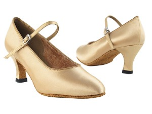 "3008 Light Brown Satin with 2.5"" low heel in the photo"