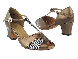 "6006 Copper Leather & Black Sparklenet with 2"" Thick Cuban Heel in the photo"