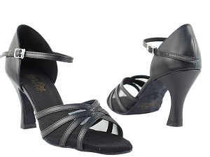"6027 Black Leather & Black Mesh with 3"" Heel in the photo"