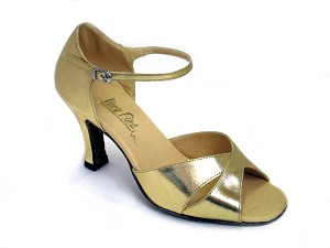"6029 Gold Leather with 3"" Heel in the photo"