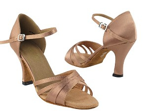 "6030 Brown Satin with 3"" Heel in the photo"