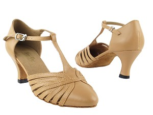"6829 Beige Brown Leather with 2.5"" low heel in the photo"