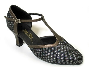 "9627 Black Sparklenet & Copper Trim with 2.5"" low heel in the photo"