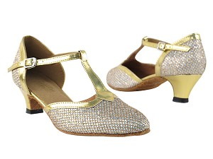 "9627 Gold Sparklenet & Gold Trim with 1.3"" heel in the photo"