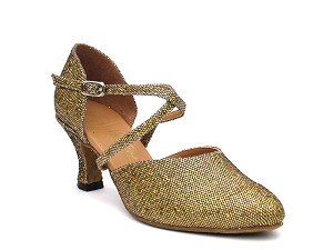 "9691 Gold Scale with 2.5"" low heel in the photo"