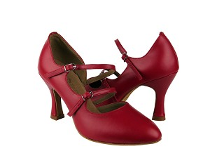 "PP201 Red Leather with 3"" Flare heel in the photo"