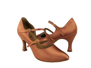 "PP201 Tan Satin with 3"" Flare heel in the photo"