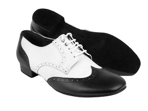 "PP301 Black Leather & White Leather with 1"" heel in the photo"