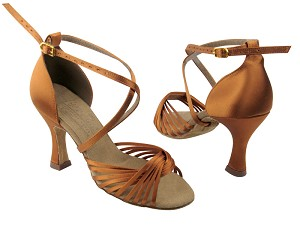 "S1001 Dark Tan Satin with 3"" Flare heel in the photo"