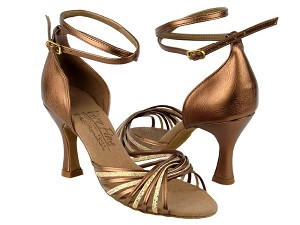 "S1001 Gold Scale & Dark Tan Gold with 3"" Flare heel in the photo"