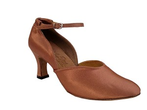 "S9129 Tan Satin with 2.5"" heel in the photo"