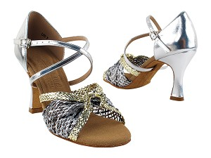 "S92309 Gold & Silver Braid with 3"" Flare heel in the photo"