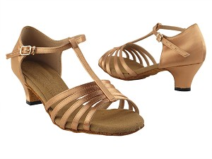 "S9273 Tan Satin with 1.2"" cuban heel in the photo"