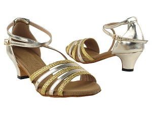 "S9278 Gold Leather & Gold Braid with 1.2"" cuban heel in the photo"