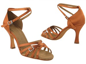 "SERA1137 Dark Tan Satin with 3"" heel in the photo"
