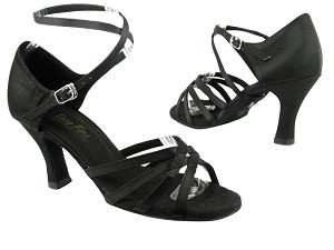 "1606 Black Satin with 3"" heel in the photo"