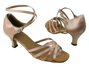 "1606 Light Brown Satin with 2.5"" Low heel in the photo"