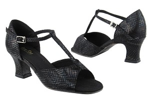 "1609 85 Black Snake with 2.2"" Thick Cuban Heel in the photo"