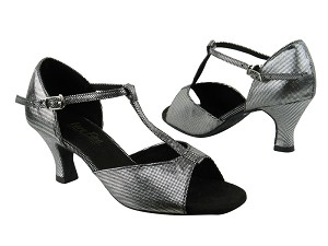 "1609 87 Black Laser Satin with 2.5"" low heel in the photo"