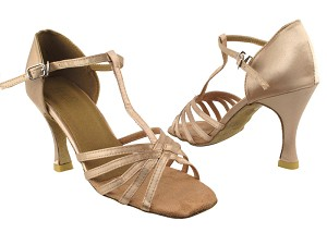 "1612 135 Light Brown Satin_same as 16612 without Mesh with 3.5"" Heel in the photo"