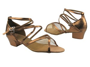 "1630 171 Dark Tan Gold Leather with 1.5"" Medium Heel in the photo"