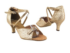"1636 125 Gold Stardust with 2.6"" Flare Heel in the photo"