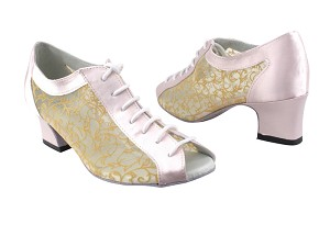 "1643 233 Light Pink Satin & 47 Mesh with 2"" Thick Cuban Heel in the photo"