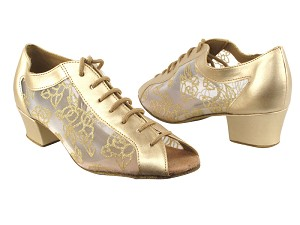 "1643 57 Light Gold Leather_79 Mesh with 1.5"" Heel in the photo"