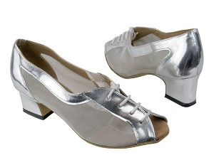 "1644 Silver Leather_Silver Mesh with 2"" Thick Cuban heel in the photo"