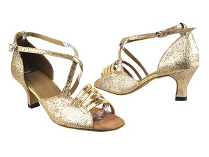 "1651 125 Gold Stardust_Gold Leather_T with 2.5"" Heel in the photo"