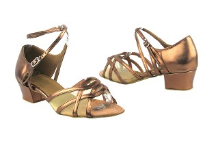 "1657 171 Dark Tan Gold PU_Flesh Mesh with 1.5"" Medium Heel in the photo"