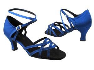 "1657 247 Gem Blue Satin without Mesh with 2.5"" low heel in the photo"