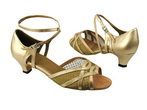 "1657 57 Light Gold Leather_108 Mesh with 1.3"" heel"