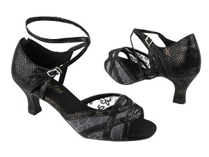 "1657 85 Black Snake_153 Grey Mesh with 2.5"" low heel in the photo"