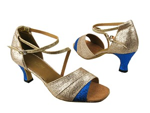 "1659 125 Gold Stardust_234 Blue Stardust_H with 2.5"" low heel in the photo"
