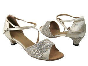 "1659 74 Gold Sparklenet & 103 Flesh Flower Satin with 1.3"" Heel in the photo"