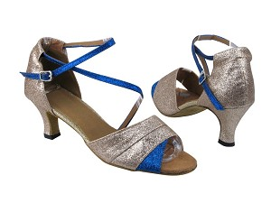 "1659 Gold Stardust_Blue Stardust with 2.5"" Low heel in the photo"