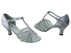 "16612 126 Silver Stardust & Flesh Mesh with 2.5"" Low Heel in the photo"