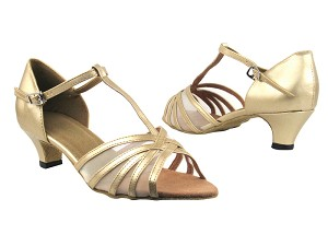 "16612 57 Light Gold Leather_Flesh Mesh with 1.3"" Heel in the photo"