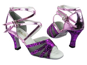 "1662B 11 Purple Sparkle_F_H_150 Purple Leather_Black Mesh with 3"" heel in the photo"