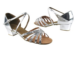 "1670C Silver Leather_Silver Sparkle with 1.5"" medium heel in the photo"