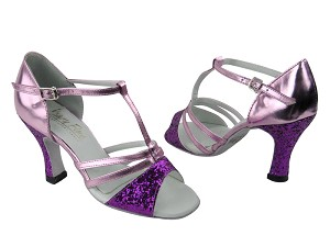 "1683 11 Purple Sparkle (H) & 150 Purple Leather with 3"" Heel in the photo"