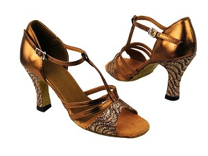 "1683 217 Copper Sparkle_H_171 Dark Tan Gold with 3"" heel in the photo"