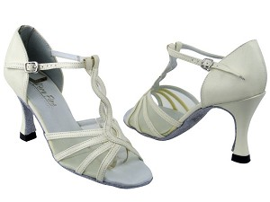 "1692 15 Creamy White Leather_Flesh Mesh with 3.5"" heel in the photo"