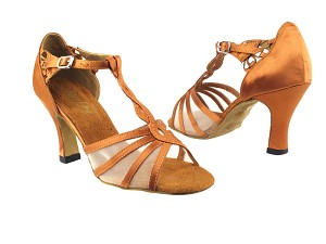 "1692 236 Dark Tan Satin_Flesh Mesh_1671Factory BackStrap with 3"" Heel in the photo"