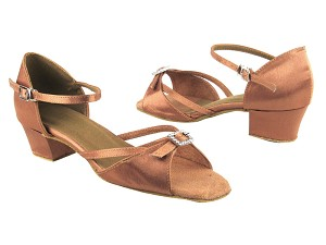 "1720 81 Brown Satin with 1.5"" Medium heel in the photo"